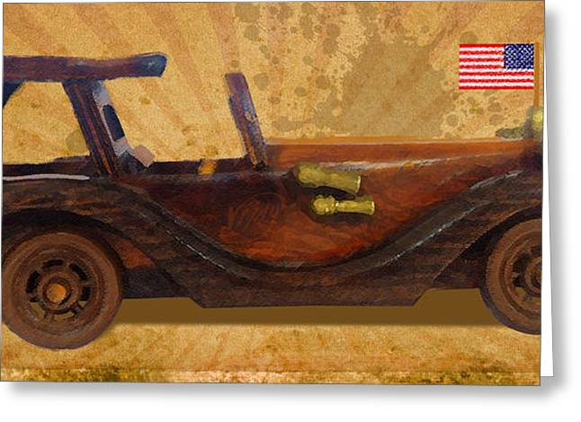 Wooden Car With U.s.flag Greeting Card