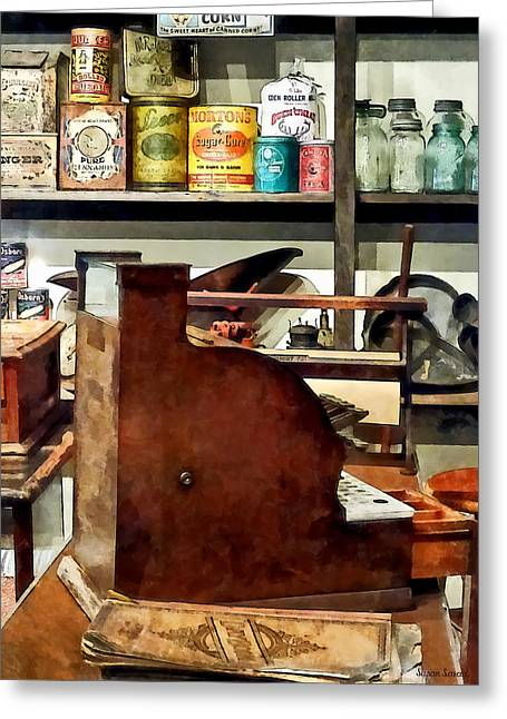 Wooden Cash Register In General Store Greeting Card by Susan Savad