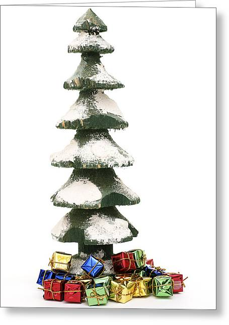 Wooden Christmas Tree With Gifts Greeting Card