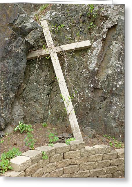Wooden Cross In The Rocks Greeting Card by Jennifer Cairns