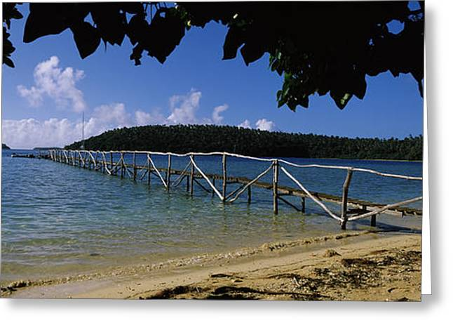 Wooden Dock Over The Sea, Vavau, Tonga Greeting Card by Panoramic Images