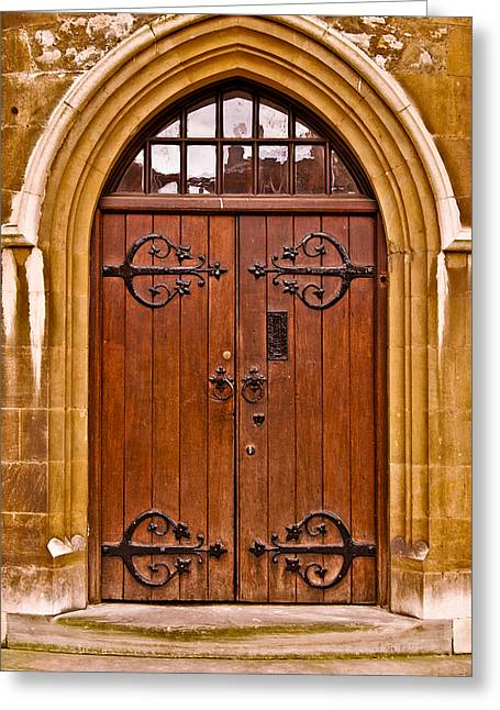 Wooden Door At Tower Hill Greeting Card