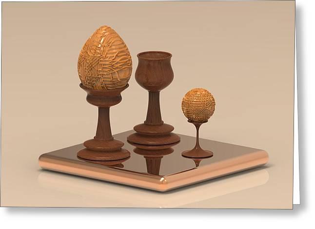Wooden Egg Greeting Card by Hakon Soreide