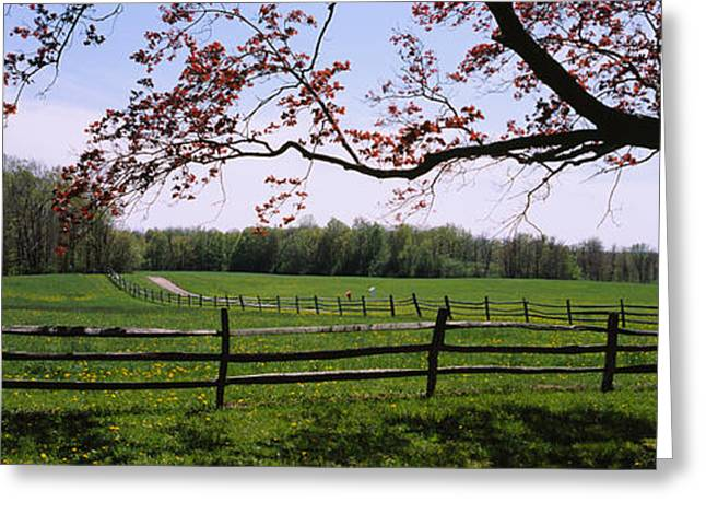 Wooden Fence In A Farm, Knox Farm State Greeting Card by Panoramic Images