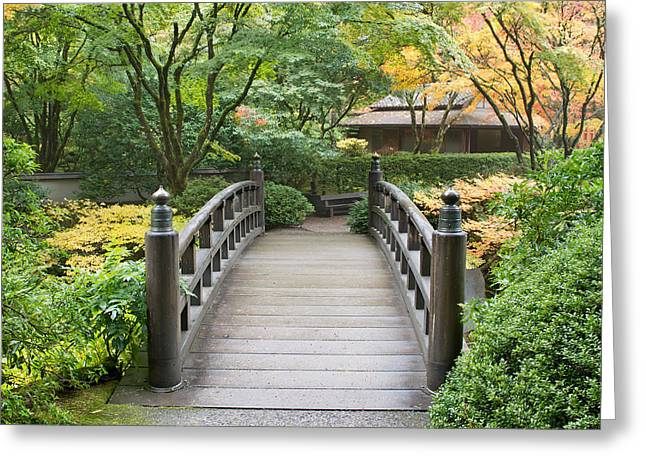 Greeting Card featuring the photograph Wooden Foot Bridge In Japanese Garden by JPLDesigns