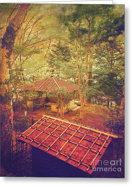 Wooden Gazebo And Small Shed In Forest Greeting Card by Beverly Claire Kaiya