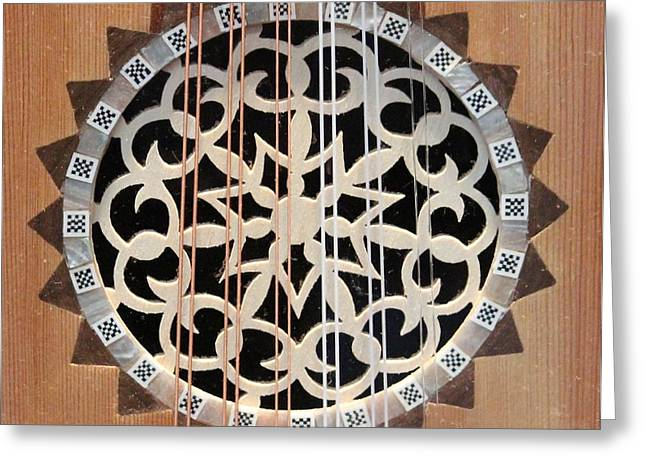 Wooden Guitar Inlay With Strings Greeting Card