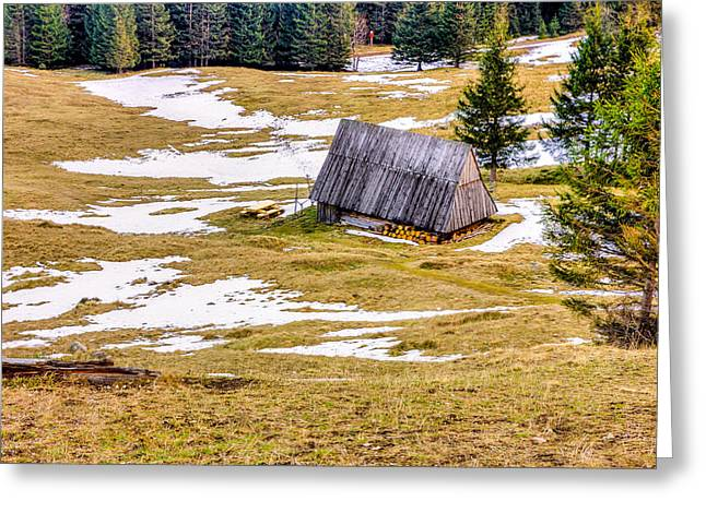 Wooden Hut Greeting Card by Pati Photography