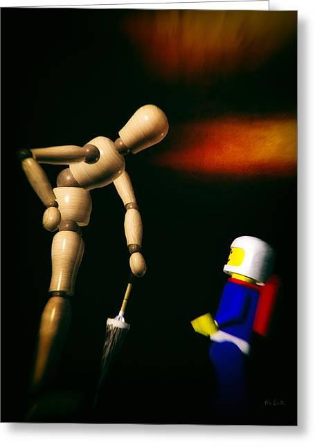 Wooden Man With Umbrella Greeting Card by Bob Orsillo