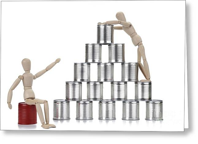 Wooden Mannequin And Tin Cans Greeting Card