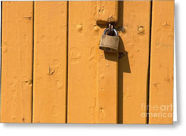 Wooden Plank Door Steel Lock Greeting Card
