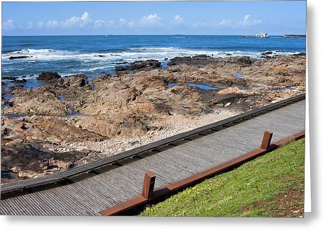 Wooden Promenade Along The Ocean In Porto Greeting Card