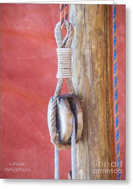 Wooden Pulley Faded Red Sail Greeting Card