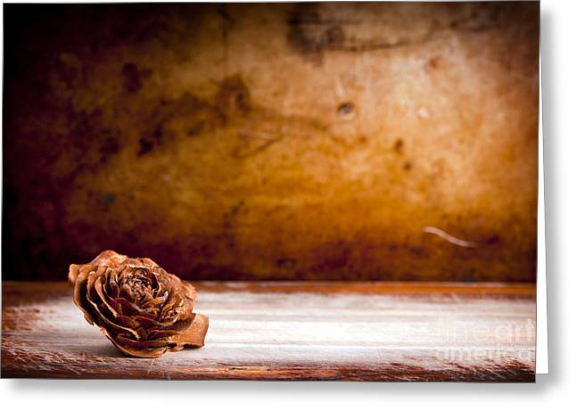 Wooden Rose Background Greeting Card by Tim Hester