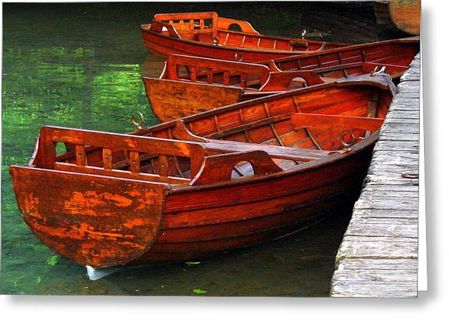 Wooden Rowboats Greeting Card by Ramona Johnston