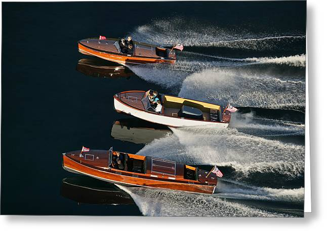 Wooden Runabouts On Lake Tahoe Greeting Card by Steven Lapkin