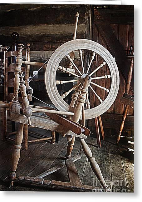 Wooden Spinning Wheel Greeting Card