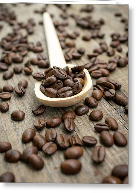 Wooden Spoon With Coffee Beans Greeting Card by Aged Pixel