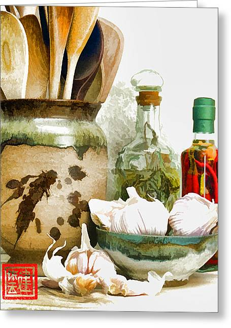Wooden Spoons And Garlic Iv Greeting Card by Ken Evans