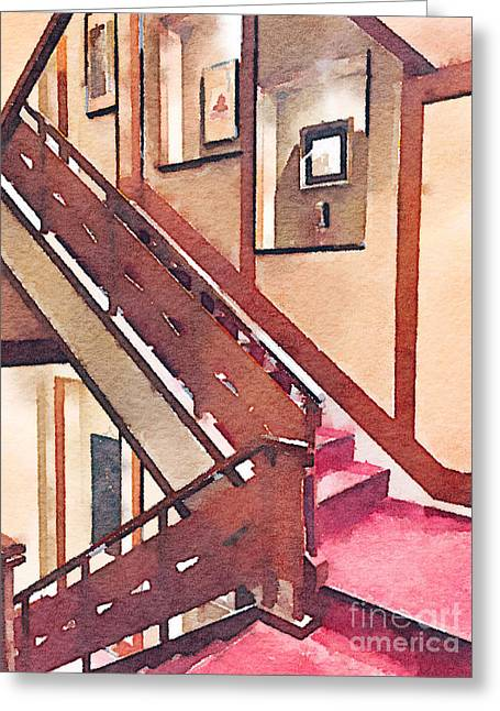 Wooden Staircase At A Japanese-style Inn Greeting Card by Beverly Claire Kaiya