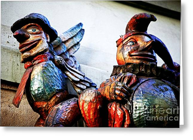 Wooden Statues Greeting Card by John Rizzuto