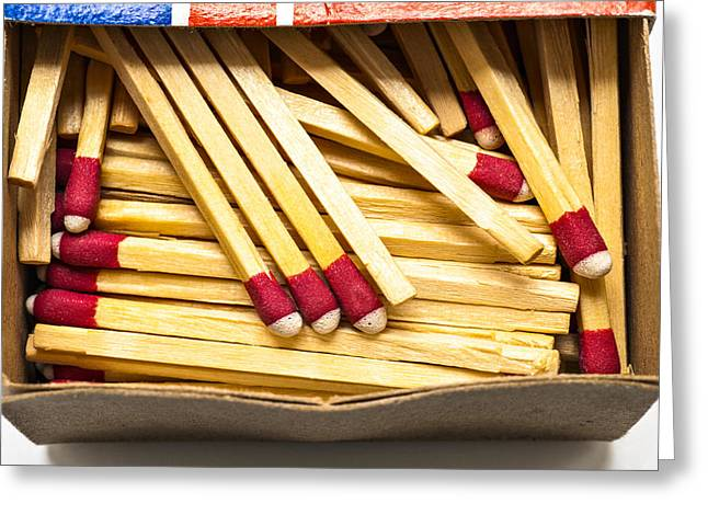 Wooden Stick Matches In Box Greeting Card by Donald  Erickson