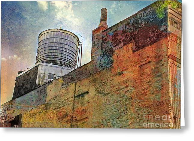 Wooden Water Tower New York City Roof Top Greeting Card