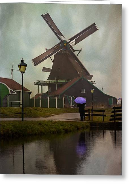 Wooden Windmill In Holland Greeting Card by Juli Scalzi