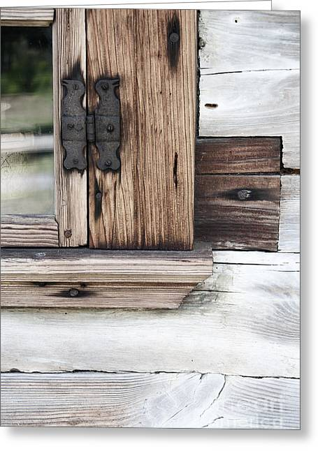 Wooden Window Frame Greeting Card by Agnieszka Kubica