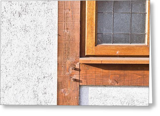 Wooden Window Frame Greeting Card by Tom Gowanlock