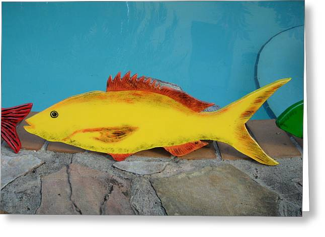 Wooden Yellow Tail Greeting Card by Val Oconnor