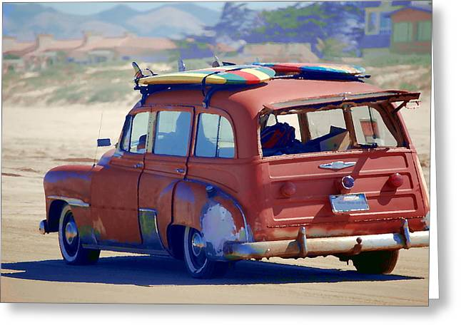 Woodie On The Beach Greeting Card