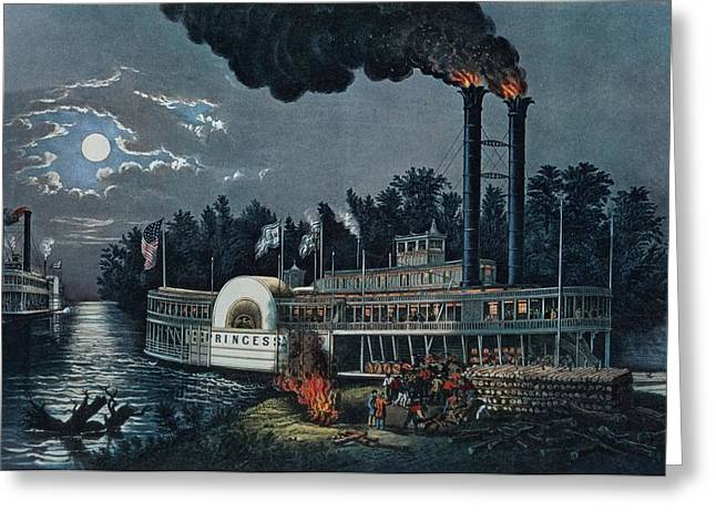 Wooding Up On The Mississippi Colour Litho Greeting Card by N. Currier