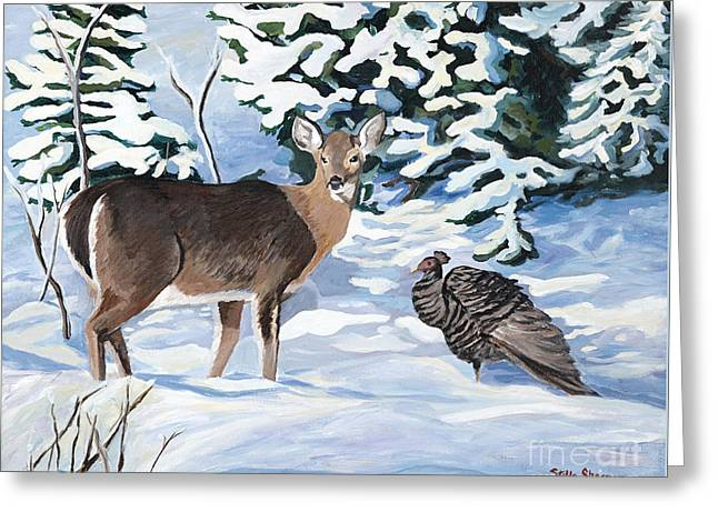 Woodland Creatures Meet Greeting Card by Stella Sherman