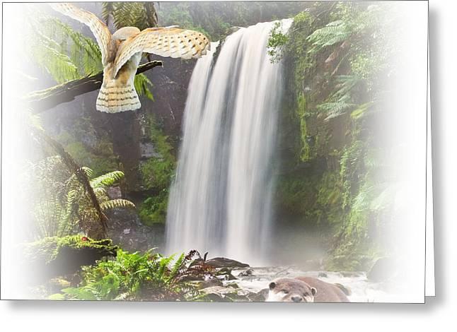 Woodland Falls Greeting Card by Sharon Lisa Clarke