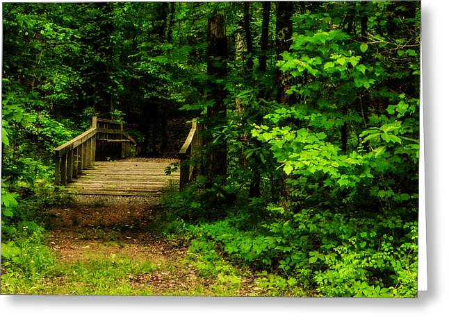 Woodland Foot Bridge Greeting Card by Jon Woodhams