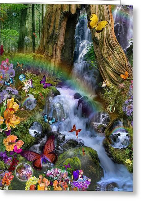 Woodland Forest Fairyland Greeting Card by Alixandra Mullins