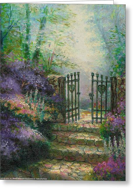 Woodland Gate Lilacs Greeting Card by Charles Gaul