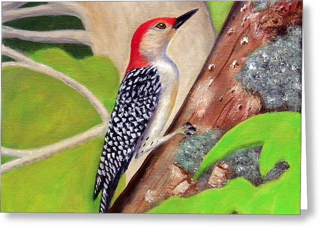 Greeting Card featuring the painting Woodpecker by Janet Greer Sammons