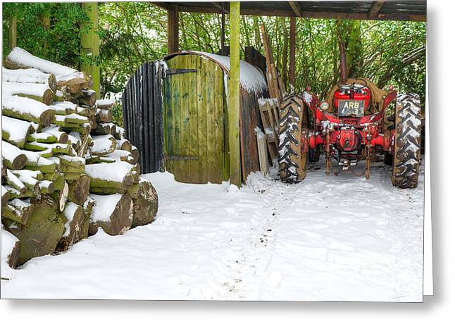 Woodshed In Winter Greeting Card by David Birchall