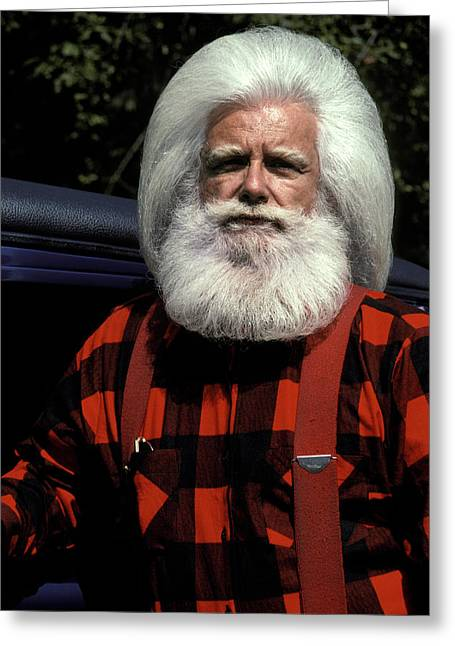 Woodsman With White Hair And Beard Greeting Card