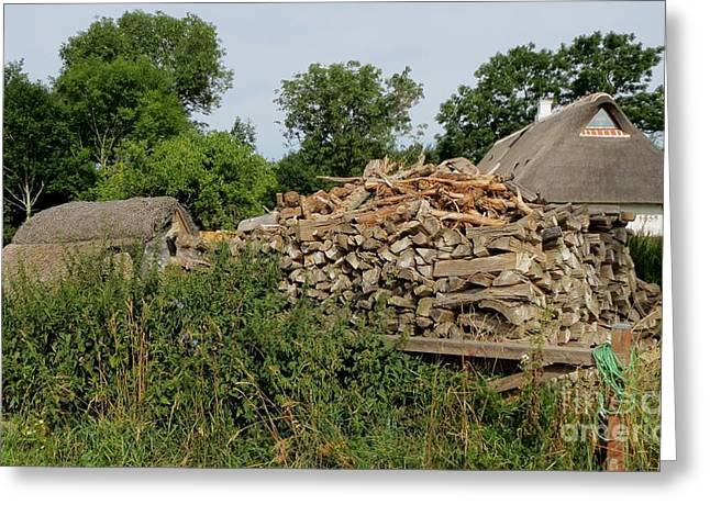 Woodstack Greeting Card by Susanne Baumann