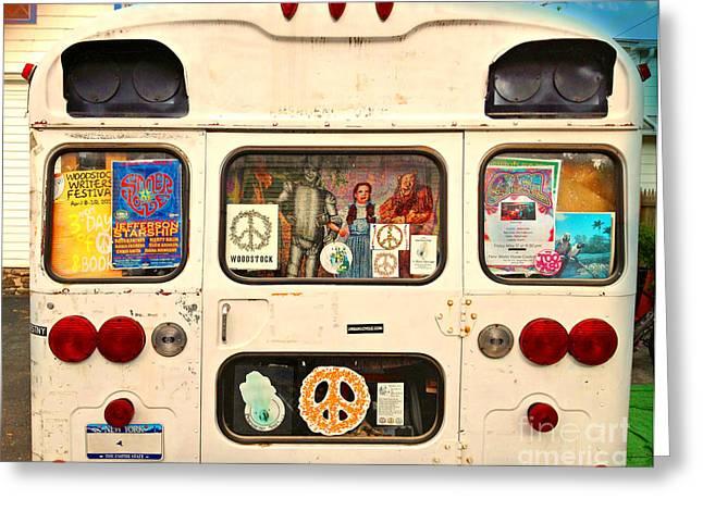 Woodstock Bus Greeting Card by Beth Ferris Sale
