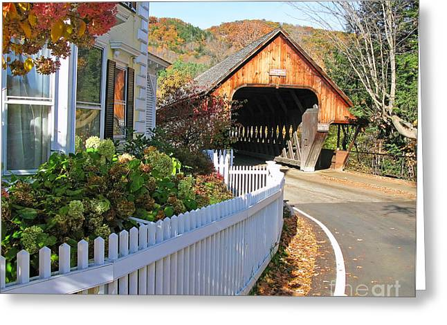 Woodstock Vermont Middle Covered Bridge  0179 Greeting Card by Jack Schultz