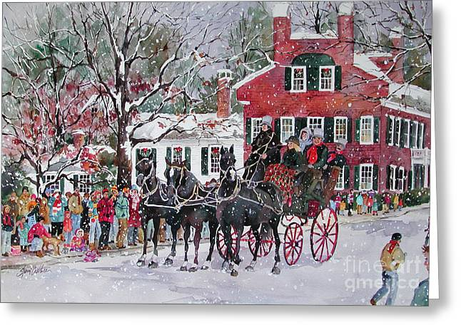 Woodstock Wassail Parade Greeting Card by Sherri Crabtree