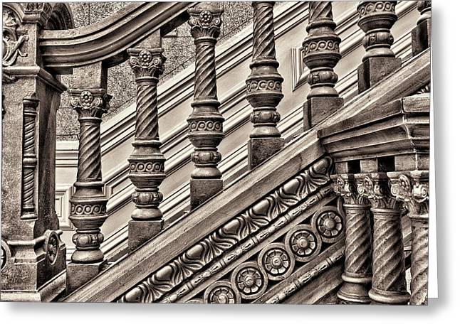 Woodwork On A Railing At The Tippecanoe Greeting Card by Rona Schwarz