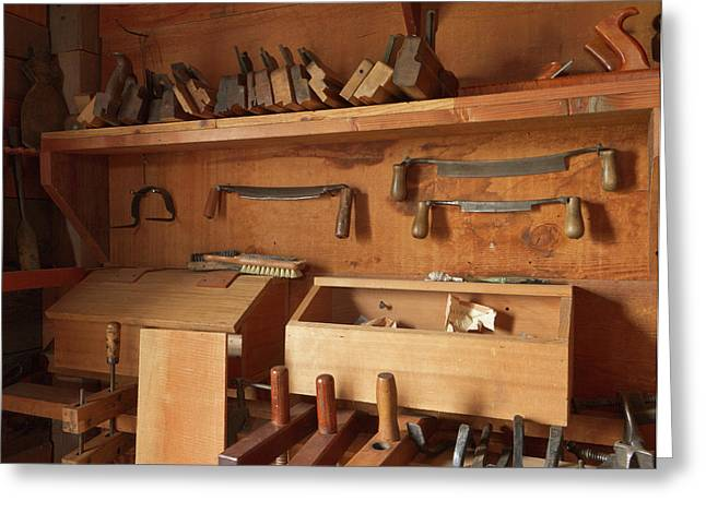 Woodworking Tools In Carpentry Shop Greeting Card by William Sutton
