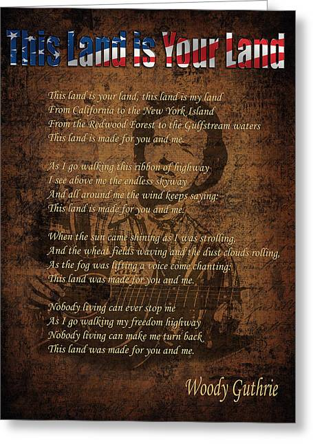 Woody Guthrie 2 Greeting Card by Andrew Fare