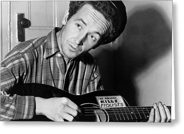 Woody Guthrie Greeting Card by Georgia Fowler