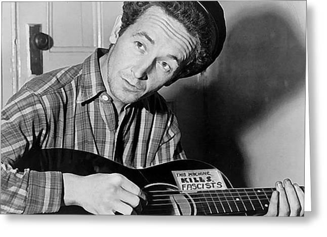 Woody Guthrie This Machine Kills Fascists Greeting Card by Al Aumuller